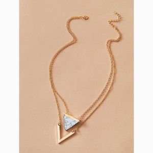 Marble Triangle Layered Chain Statement Necklace